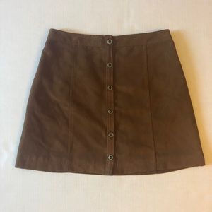 Hollister Tan Brown Suede Button Mini Skirt size 3